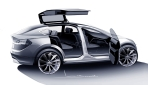 Tesla Model X Flügeltüren Skizze