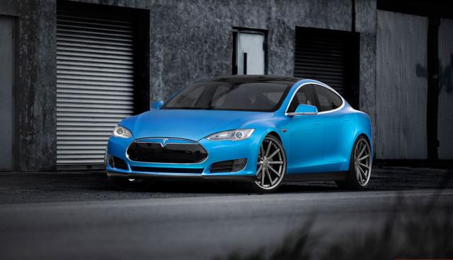 Tesla Model S Matt-Blau-Metallic von Vossen Wheels
