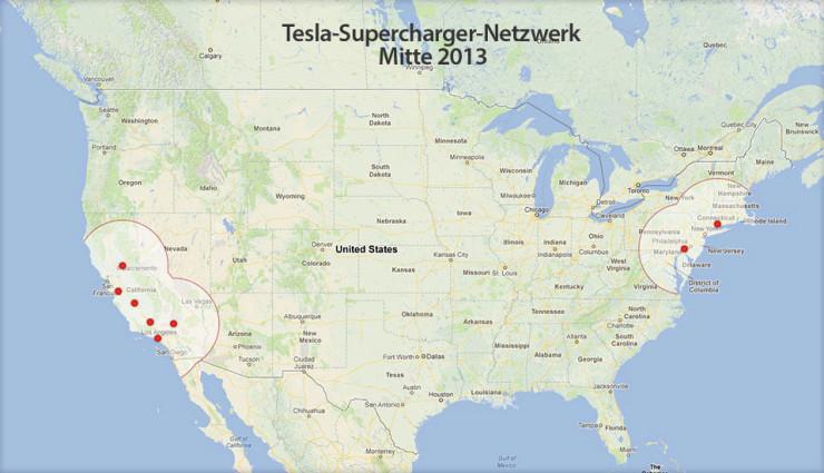 Kostenlos tanken: Tesla baut US-Supercharger-Ladenetzwerk aus
