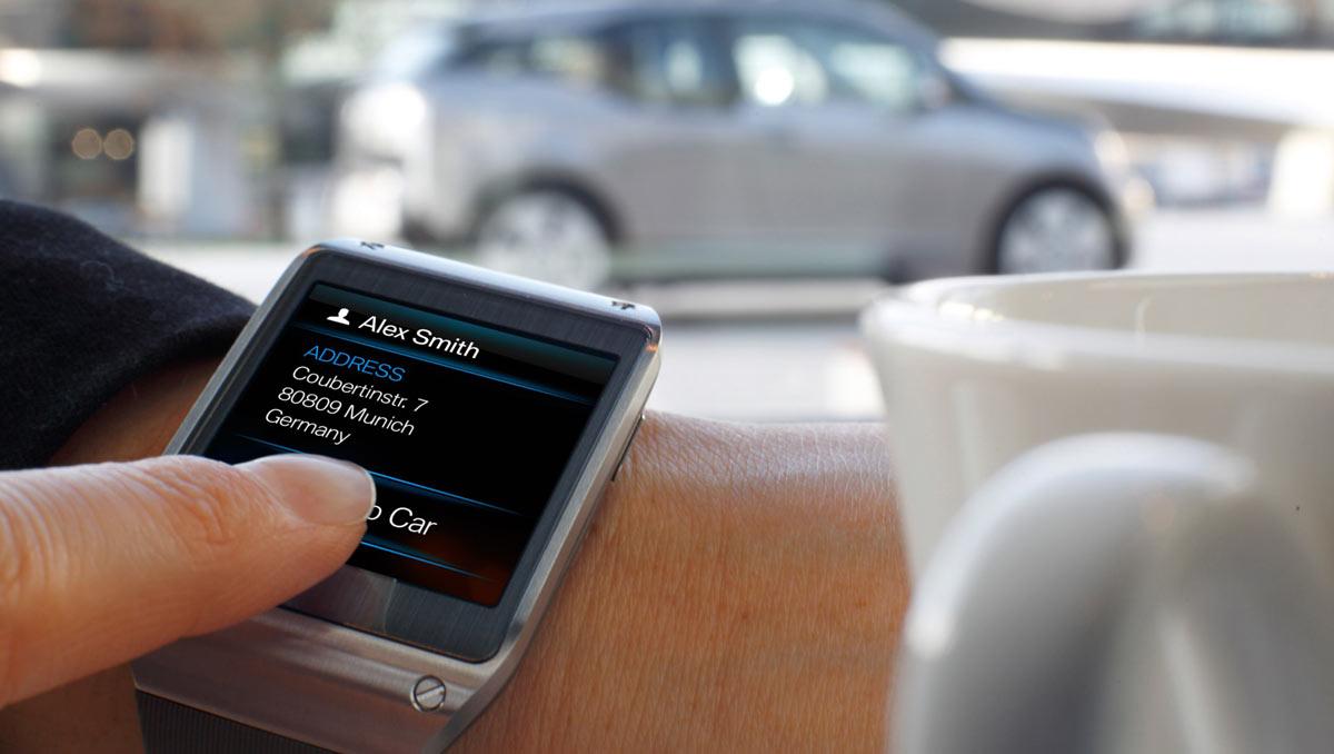 bmw pr sentiert smartwatch f r i3 pkw fernsteuerung per armbanduhr. Black Bedroom Furniture Sets. Home Design Ideas