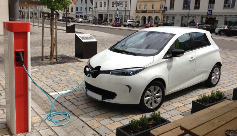 Elektroautos-parken