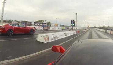 Tesl Model S beschleunigung Corvette Stingray Rennen