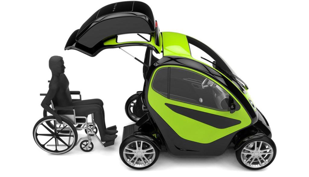 Elektroauto-Rollstuhlfahrer-Equal-Einstieg