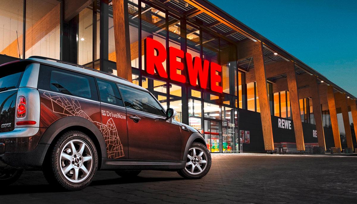drivenow carsharing kooperiert mit rewe 5 einkaufsrabatt kostenlose parkminuten. Black Bedroom Furniture Sets. Home Design Ideas