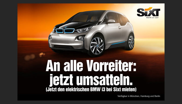 bmw i3 kann bei sixt gemietet werden. Black Bedroom Furniture Sets. Home Design Ideas
