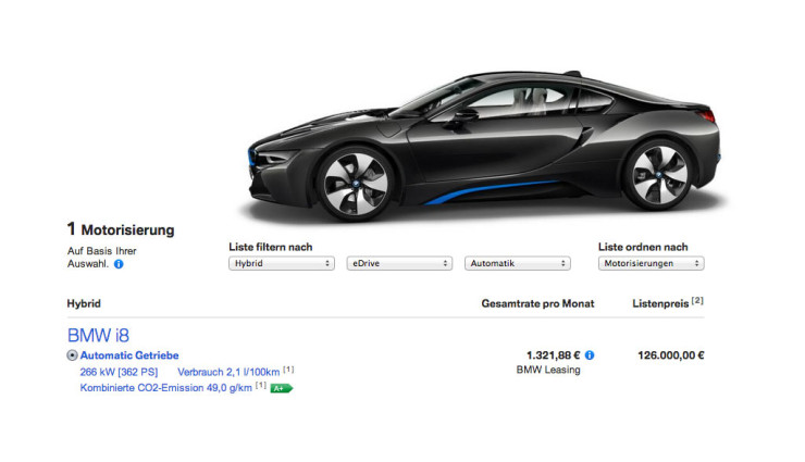bmw i8 konfigurator ist online. Black Bedroom Furniture Sets. Home Design Ideas