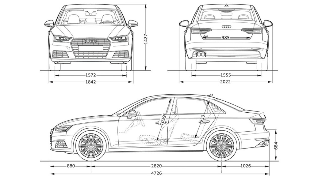 Tesla-Model-3-Abmessungen-Audi-A4