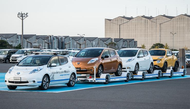 Nissan setzt Elektroauto LEAF als Selbstfahr-Zugfahrzeug ein