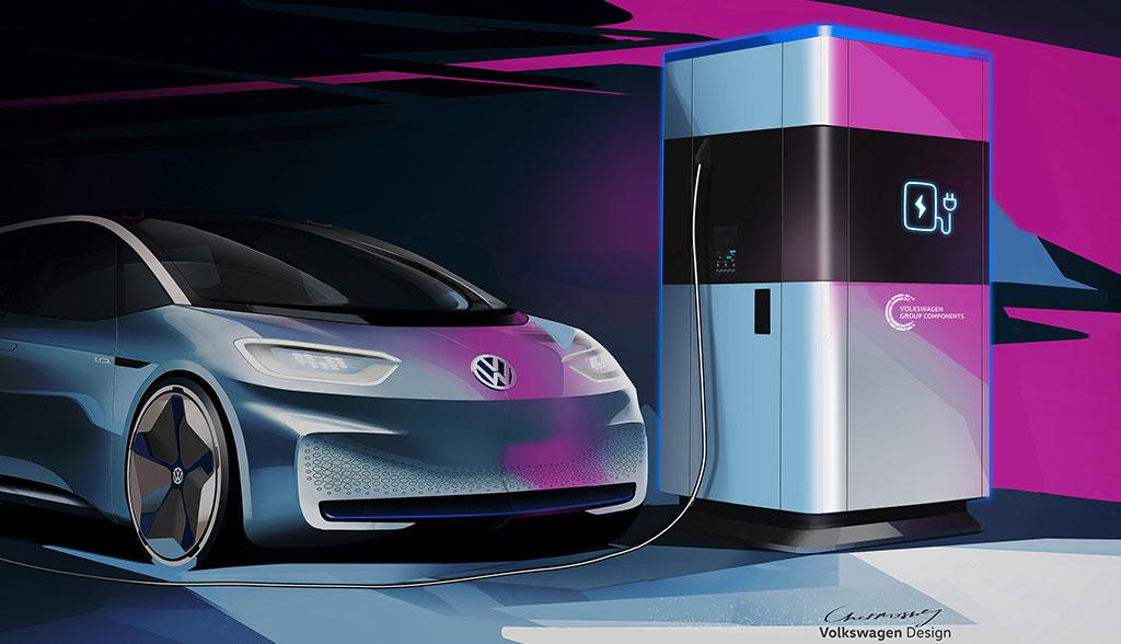 VW zeigt mobile Elektroauto-Schnellladesäule
