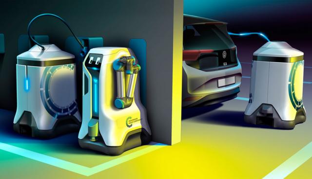 VW-Elektroauto-Laderoboter